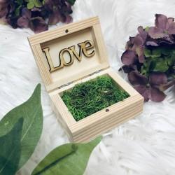 Zestaw weselny skrzynia naturalna + pudełko na obrączki
