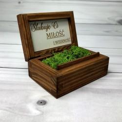 Drewniane pudełko na obrączki Ślubuje Ci..
