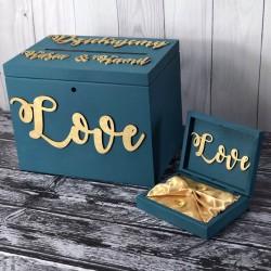 Zestaw pudełko na koperty i obrączki Love PREMIUM