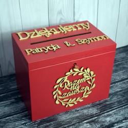 Skrzynia pudełko na koperty drewniana Styl Marsala 1