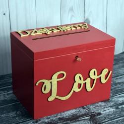 Skrzynia pudełko na koperty drewniana Styl Marsala 4