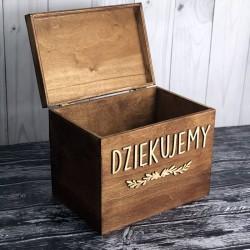 Skrzynia pudełko na koperty drewniana bejcowana basic