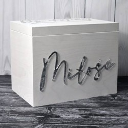 Zestaw weselny skrzynia złoty + pudełko na obrączki + topper