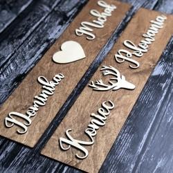 Drewniane ślubne tablice rejestracyjne ze sklejki JELEŃ