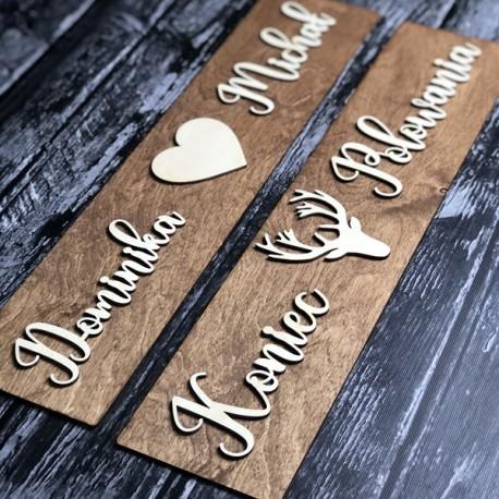 Drewniane ślubne tablice rejestracyjne ze sklejki JELEN