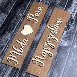 Drewniane ślubne tablice rejestracyjne ze sklejki NAJSZCZĘŚLIWSI