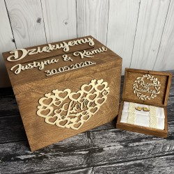 Zestaw rustykalne pudełko na koperty i obrączki RUSTICO