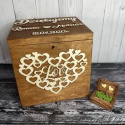 Zestaw rustykalne pudełko na koperty i obrączki RUSTICUS