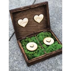 Drewniane pudełko na obrączki duże brązowe
