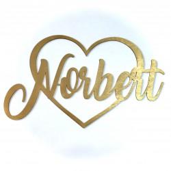Drewniane serce z imionami młodej pary złote