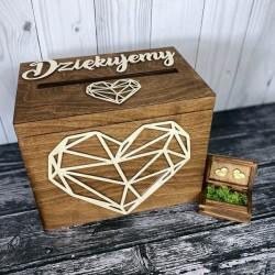 Zestaw rustykalne pudełko na koperty i obrączki OPENWORK