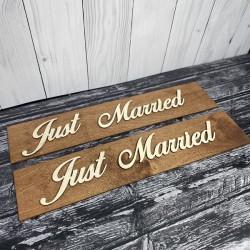 Drewniane ślubne tablice rejestracyjne ze sklejki  JUST MARRIED