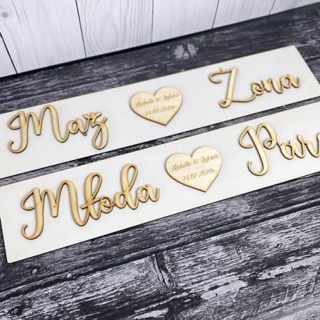 Drewniane ślubne tablice rejestracyjne imienne 2sz. KLASYCZNE