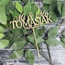 Drewniany złoty topper Mrs Ms