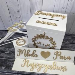 Zestaw rustykalne pudełko na koperty i obrączki