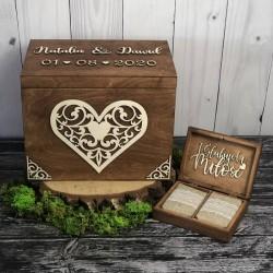 Zestaw rustykalne pudełko na koperty i obrączki RUSTIC DREAM Zestaw rustykalne pudełko na koperty i obrączki RUSTIC DREAM