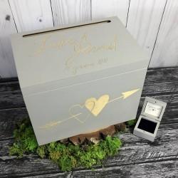 Zestaw rustykalne pudełko na koperty i obrączki HEART ARROW