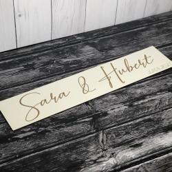 Drewniana ślubna tablica rejestracyjna imienna