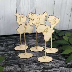 Drewniane numerki na stół kontynenty