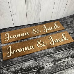 Drewniane ślubne tablice rejestracyjne imienne