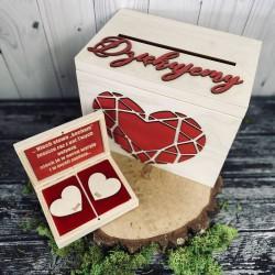 Zestaw pudełko na koperty i obrączki z czerwonymi dodatkami