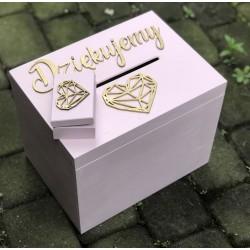 Zestaw weselny skrzynia + pudełeczko na obrączki łososiowy róż
