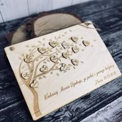 Tabliczka drzewo z serduszkami grawerowanymi Dzień Mamy
