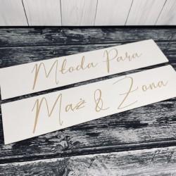 Drewniane ślubne tablice rejestracyjne