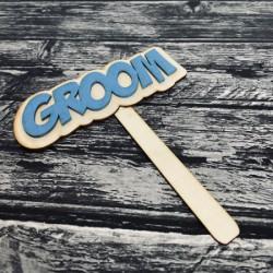 """Drewniana tabliczka do fotobudki  """"Groom"""""""