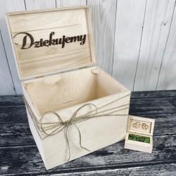 Zestaw rustykalne pudełko na obrączki i koperty naturalne