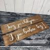 """Drewniane ślubne tablice rejestracyjne """"Już po chłopie..."""""""