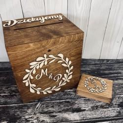 Zestaw rustykalny z inicjałami pudełko na koperty i obrączki