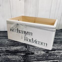 Drewniana skrzynka biała podziękowania dla rodziców
