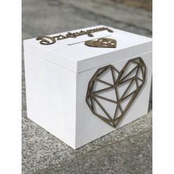 Drewniana skrzynia na koperty łososiowy róż