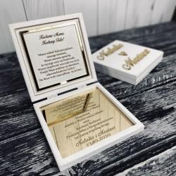 Zaproszenie na ślub/Podziękowanie złote lustro