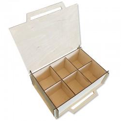 Drewniane pudełko decoupage 26x18 z przegródkami