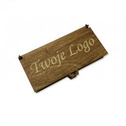 Drewniane bejcowane pudełko z własnym logo 18x9