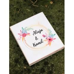 Zaproszenie ślubne białe w pudełku drewnianym