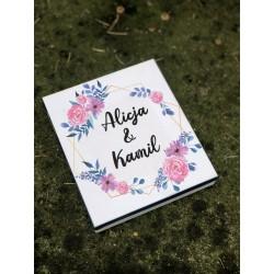 Zaproszenie ślubne białe w pudełku drewnianym flower