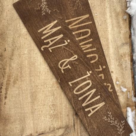 Drewniane ślubne tablice rejestracyjne bejcowane