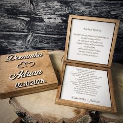 Drewniane zaproszenie dla Rodziców
