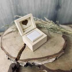 Drewniane pudełko na obrączki rustykalne