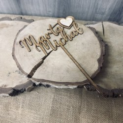Drewniany topper na ślub imienny z grawerem