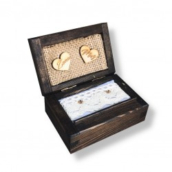 Drewniane pudełko na obrączki olejowane