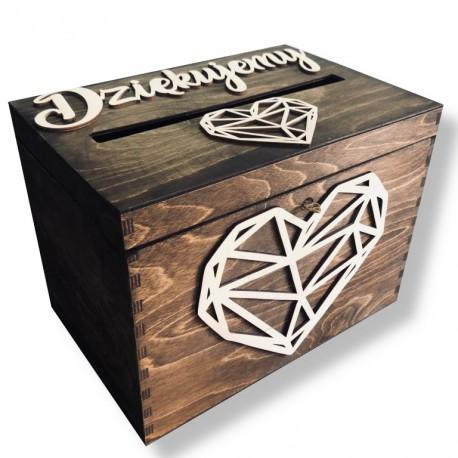 Drewniana skrzynia pudełko na koperty olejowane