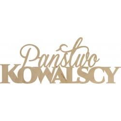 Napis na ściankę Państwo Kowalscy sklejka 60 cm