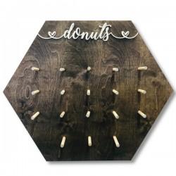 Drewniana tablica na donuty- Donut Wall olejowana sześciokąt DUŻA