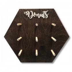 Drewniana tablica na donuty- Donut Wall olejowana sześciokąt MAŁA