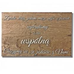 """Tablica powitalna weselna """"Z wielu dróg"""" mała"""