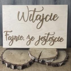 """Tablica powitalna weselna """"Witajcie"""" naturalna duża"""